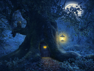 Tree home in the magic forest