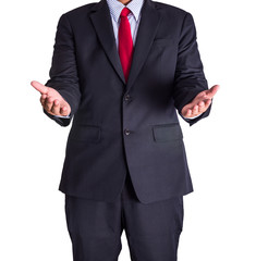 Businessman open two hand isolated