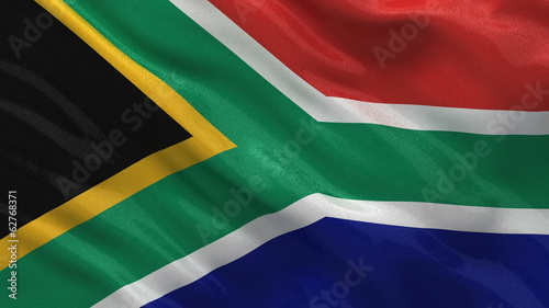 Flag of South Africa waving in the wind - seamless loop