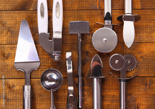 Metal kitchen utensils on table close-up