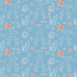 Seamless sea pattern with sea inhabitants