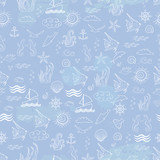 Seamless sea pattern with sea inhabitants on a blue background