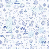 Seamless sea pattern with sea inhabitants on a white background