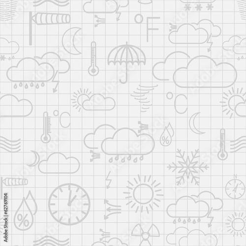 Seamless pattern of weather symbols in gray colors