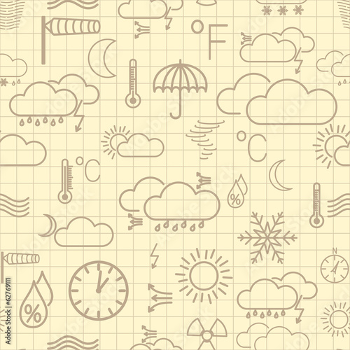Seamless pattern of brown weather symbols on yellow background