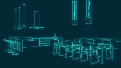 Animation Küchenplan neon