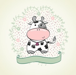 Cute babies hand draw card  with cow