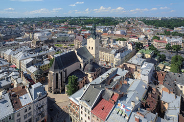View of Latin Cathedral from tower of Lviv City Hall, Ukraine