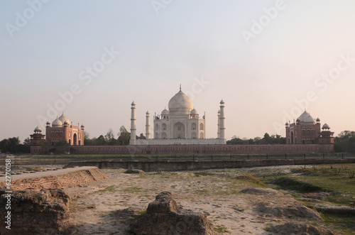 Taj Mahal from across the Yamuna river during sunset