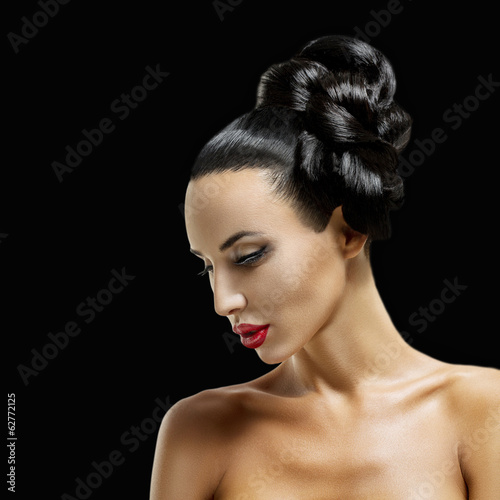 Fashion Woman Profile Portrait.Beauty Girl with Black Hair