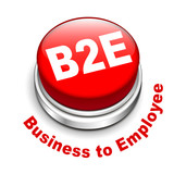 3d illustration of b2e business to employee button poster