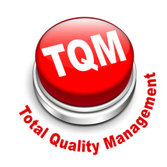 3d illustration of tqm total quality management button