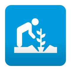 Etiqueta tipo app azul simbolo agricultor