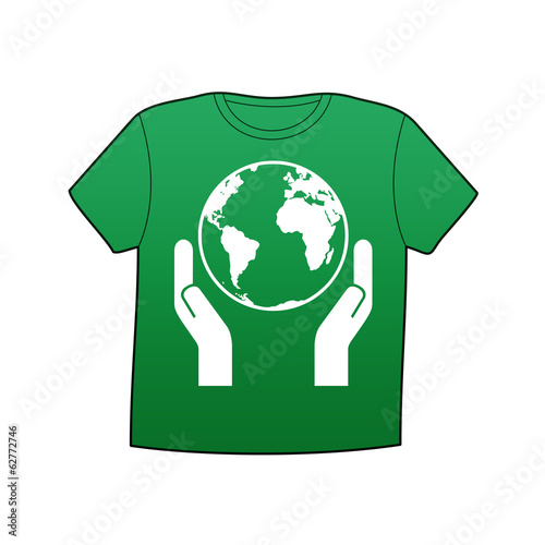 Camiseta verde simbolo Save the Planet