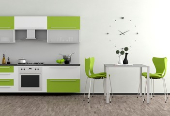Grüne Küchenmöbel