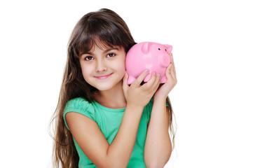 closeup portraot of girl holding piggy bank