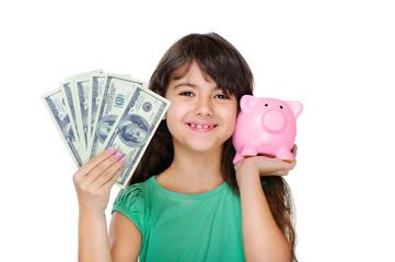 girl holding money and piggy bank closeup portrait