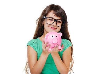 girl holding piggy bank closeup portrait