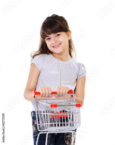 girl holding shopping trolley front view