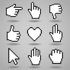 Pixel cursors icons: hand, arrow and heart. Vector illustration.