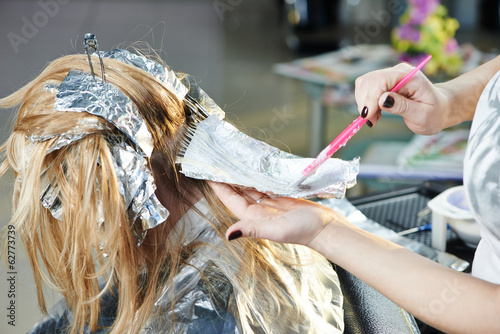 canvas print picture Highlight. woman hairdressing in salon