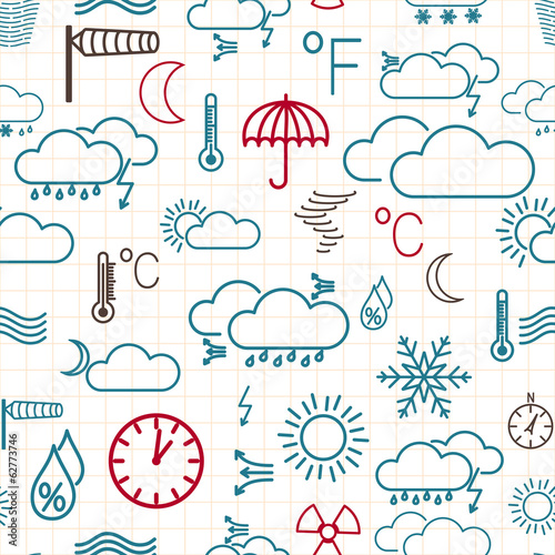 Seamless pattern of weather symbols on white
