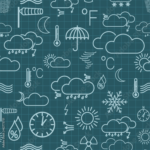 Seamless pattern of weather symbols on dark blue