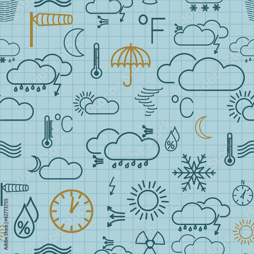 Seamless pattern of weather symbols on light blue