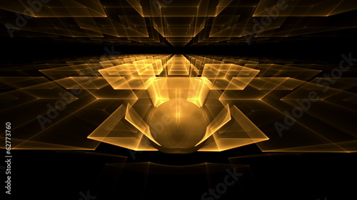 golden translucent cubes rotating in perspective on black