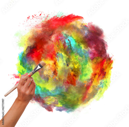 colored dust with woman hand and brush