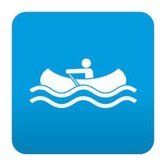 Etiqueta tipo app azul simbolo canoa