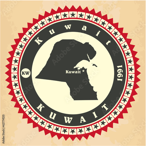 Vintage label-sticker cards of Kuwait.