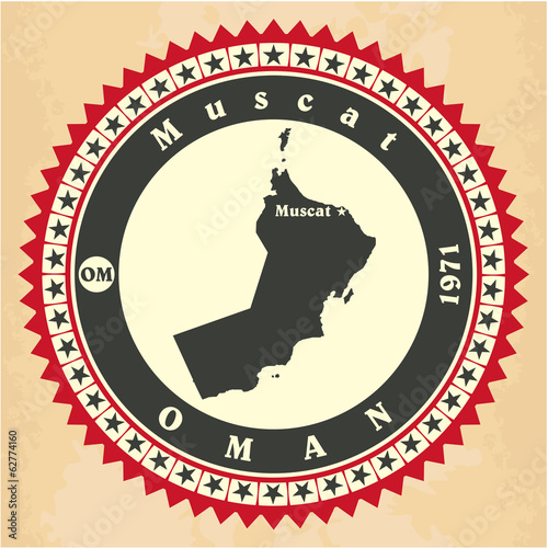 Vintage label-sticker cards of Oman.