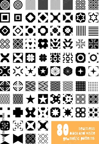 Set of seamless black and white geometric vector patterns