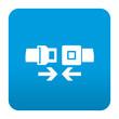Etiqueta tipo app azul simbolo cinturon de seguridad