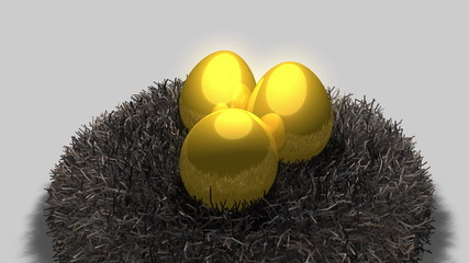 Golden egg and nest
