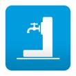 Etiqueta tipo app azul simbolo fuente de agua potable
