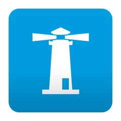 Etiqueta tipo app azul simbolo faro