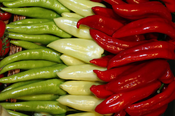 Three types of pepper at a famers market