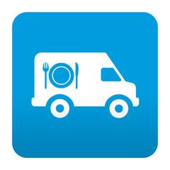 Etiqueta tipo app azul simbolo servicio de catering