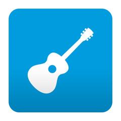 Etiqueta tipo app azul simbolo guitarra