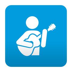 Etiqueta tipo app azul simbolo guitarrista