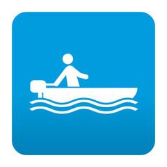 Etiqueta tipo app azul simbolo lancha motora