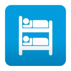 Etiqueta tipo app azul simbolo albergue