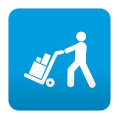 Etiqueta tipo app azul simbolo logistica