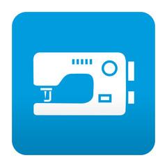 Etiqueta tipo app azul simbolo maquina de coser
