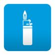 Etiqueta tipo app azul simbolo mechero