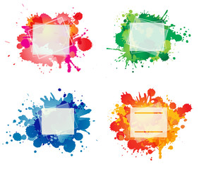 Set of colorful frames with ink splashes. Isolated on white back