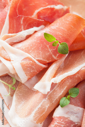 sliced prosciutto ham closeup