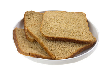 Thin Sliced Wheat Bread On Dish